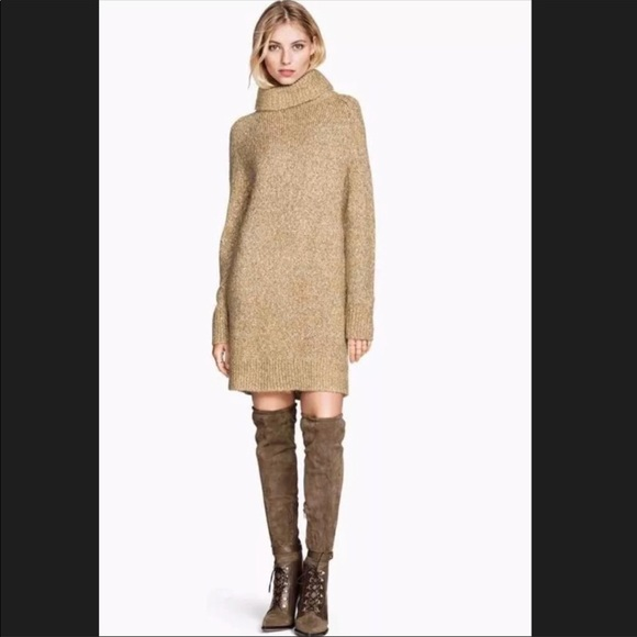 6a5c7241b58 H M Dresses   Skirts - H M Tan Cream Oversized Cowl- neck Sweater Dress